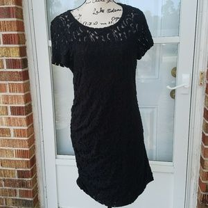 DKNYC Black Lace Bodycon Short Sleeve Dress